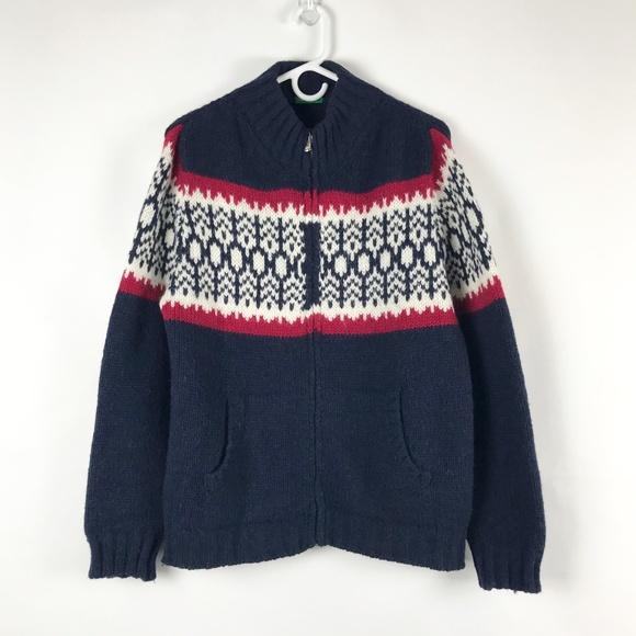 United Colors Of Benetton Other - Benetton Navy Wool Full Zip Alpine Sweater Medium